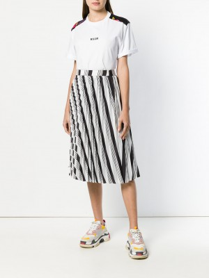 MSGM T-shirt with Floral Panel - T-shirt