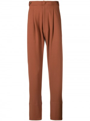 Contrasting Hem Tailored Trousers