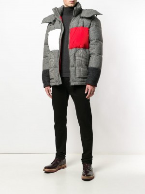 Contrasting Panel Hooded Jacket
