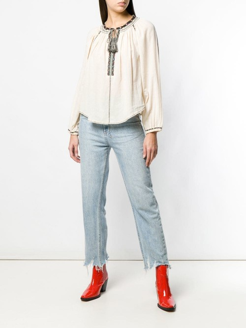 Embroidery and Tassels Blouse