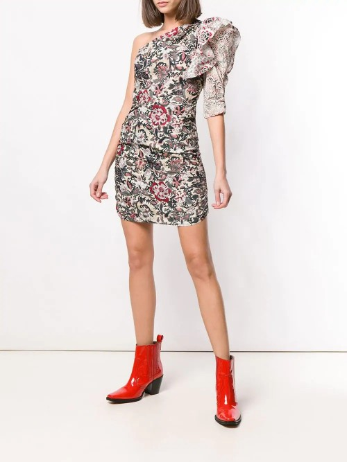 One Shoulder Isabel Dress Woman Marant Floral Etoile xdEoWrCQBe