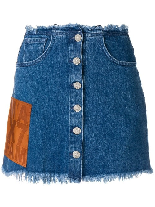 730b63ca6a 7 For All Mankind - Denim Skirt - Tan Leather Panel - Woman